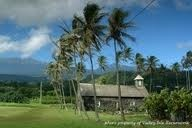 The old stone church at Keanae Peninsula on Maui along the Road to Hana. Church was all that was left standing in Kaenae after 1946 Tsunami.