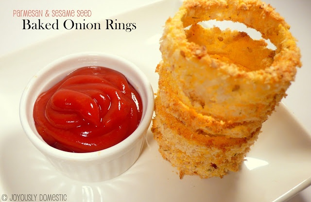 Joyously Domestic: Parmesan and Sesame Seed Baked Onion Rings