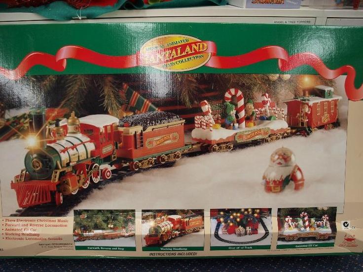 Santaland musical holiday train set up