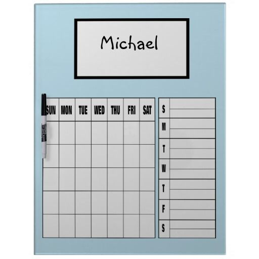 Large Personalized Child Calendar Dry Erase Board
