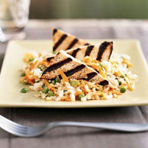 -Glazed Tofu Triangles with Sesame Rice - Vegan; use wheat free soy ...