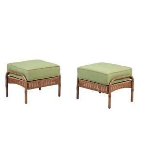 hampton bay patio furniture clairborne outdoor ottoman with moss cus