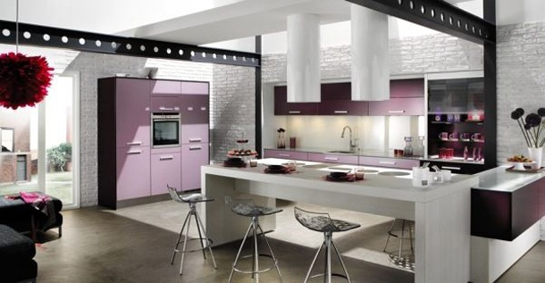 Modern purple kitchen design  Cocinas (Kitchen)  Pinterest