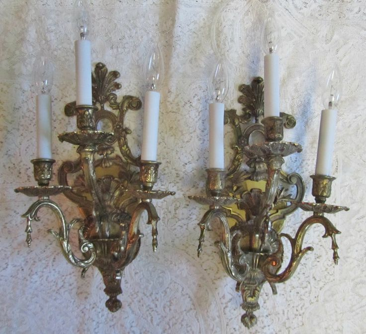 Beautiful Vintage Electric Wall Sconces~*~Very Ornate~*~3 Light~*~Brass USD 150 for pair