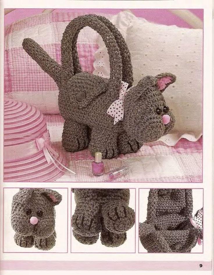 Crochet Cute Bag : Handmade Crochet Cat Purse Buy Two Get One FREE. $29.95, via Etsy.