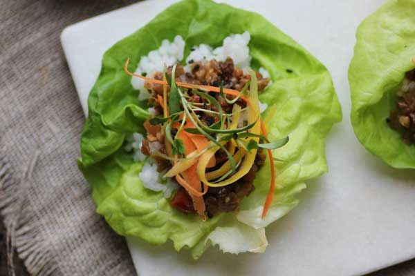gf vegetarian lettuce wraps replace the meat with walnuts and ...
