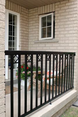 Diy install a front porch railing diy pinterest for Front balcony railing