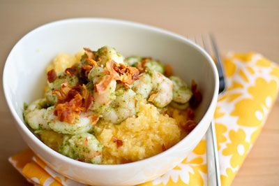 Shrimp And Pancetta On Polenta Recipe — Dishmaps