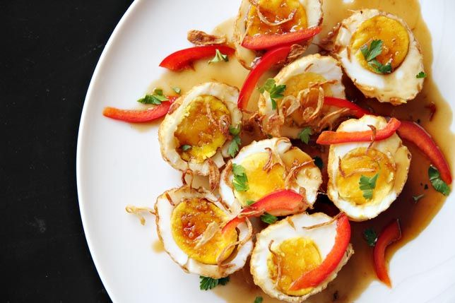 """Son-in-Law Eggs"""": Thai fried hard-boiled eggs in tamarind sauce. Sour ..."""