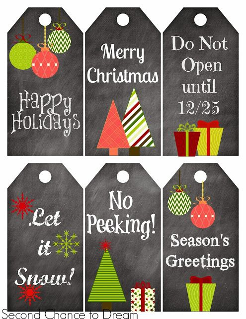 Second Chance to Dream: Free Printable Gift Tags & Gift Card Holders