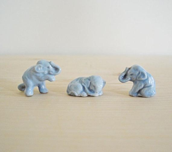 Summer Sale Three Vintage Ceramic Elephant Figurines