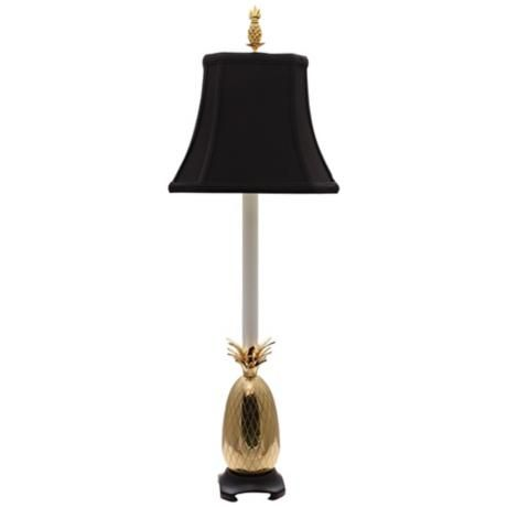 tropical brass black shade pineapple buffet table lamp. Black Bedroom Furniture Sets. Home Design Ideas