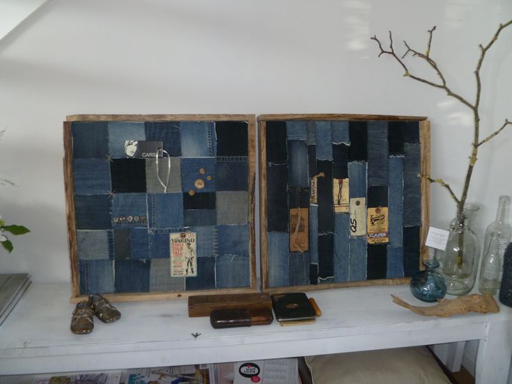Wall art, denim craft, old jeans