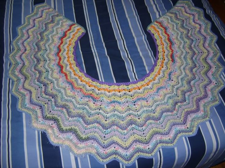 Crochet Pattern Ripple Shawl : Spring Flower Basket (a crescent-shaped crochet ripple ...