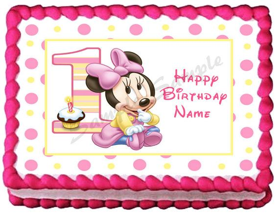 BABY MINNIE MOUSE 1st 1 Edible image cake topper 1/4 by ...