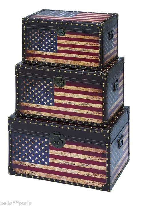 American flag vintage wooden leather decorative storage - Decorative trunks and boxes ...