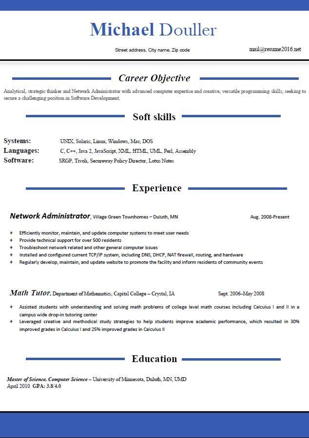 Microsoft resume format