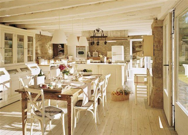 Kitchen and dining area out there somewhere pinterest - Cocinas color blanco roto ...