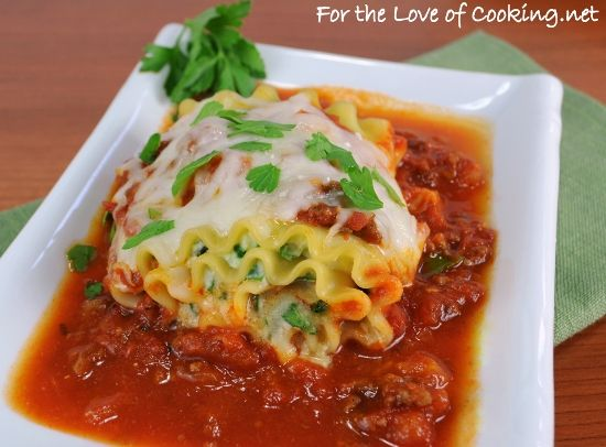 project: Spinach Lasagna Roll Ups with a Slow Simmered Meat Sauce ...