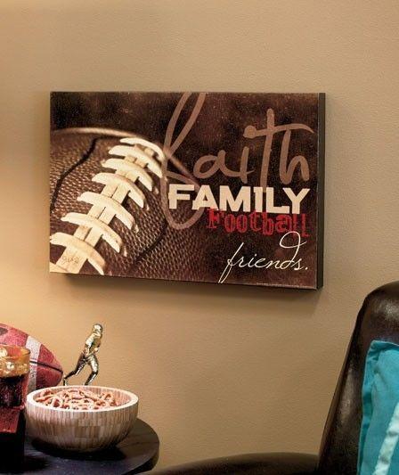 Football Man Cave Decor : Faith family friends sports wall art decor football game