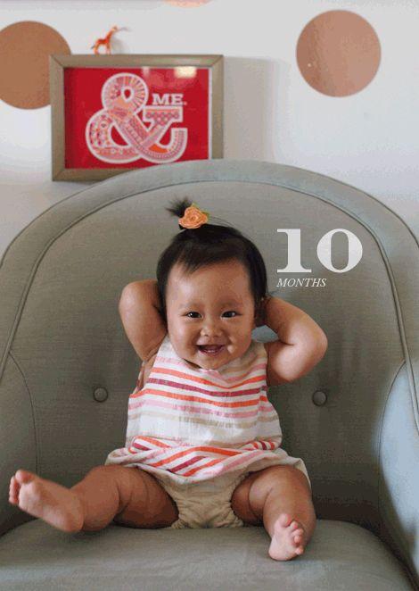 @Joy Cho / Oh Joy! celebrates ruby's 10 month birthday in a lemlem onesie.