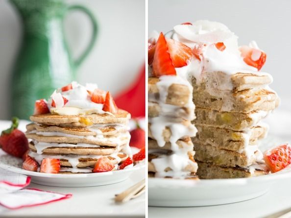 Easy Vegan and Gluten Free Pancakes (Strawberry Shortcake w/ Whipped Cream) // Oh She Glows