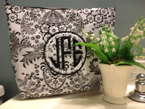 Great gatsby inspired large oilcloth waterproof cosmetic bag in black