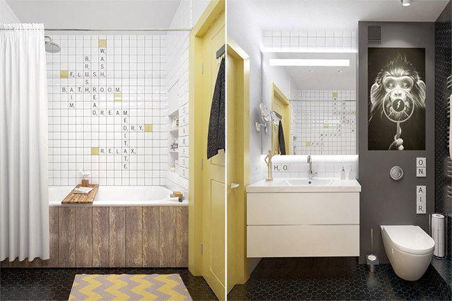 Baño Azulejos Blancos:Baño moderno con azulejos blancos