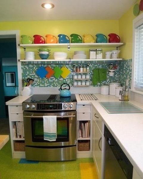 Small Kitchen Designs In Yellow And Green Colors Accentuated With Red