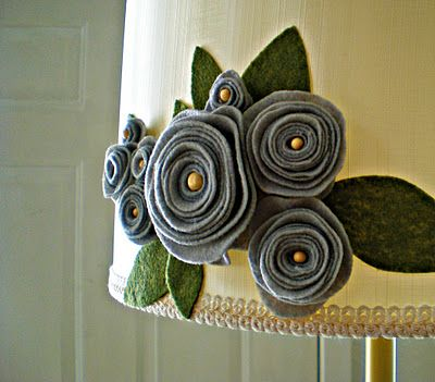 felt flower applique onto lamp shade