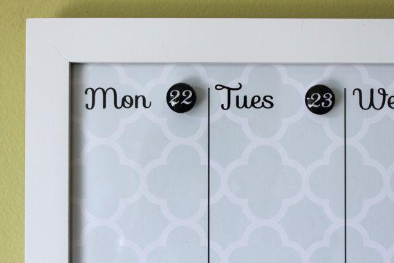 Magnetic Dry Erase Custom Framed Calendar - Light blue background and ...