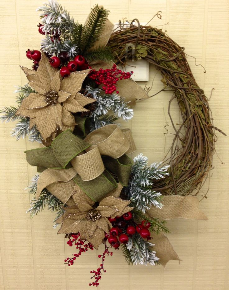 Christmas burlap grapevine wreath christmas pinterest for How to decorate a burlap wreath for christmas
