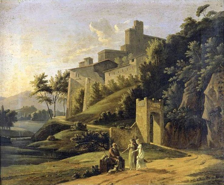 Jean-Victor Bertin (1767-1842)  —   Landscape with a Fortress and a Beggar (847×700)