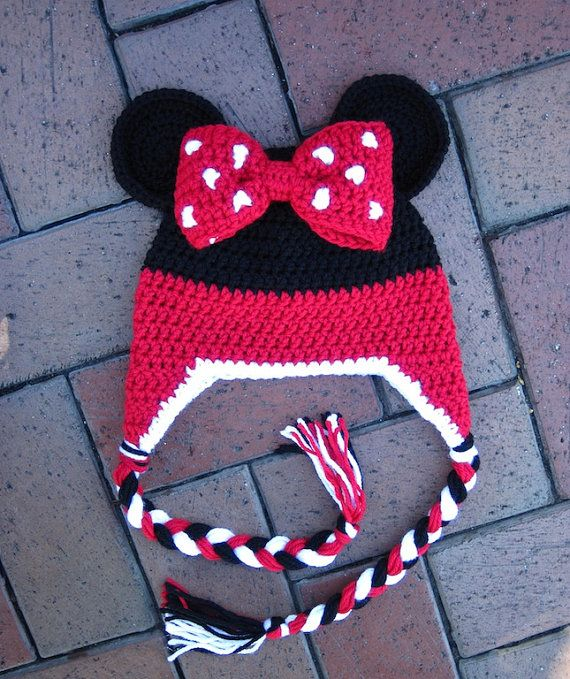 Pattern Minnie Mouse Stripe Crochet Beanie PDF PATTERN by lizzziee, $3.99