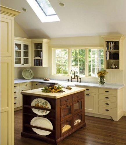 Kitchen cabinets dream cottage decor pinterest for Buttery yellow kitchen cabinets