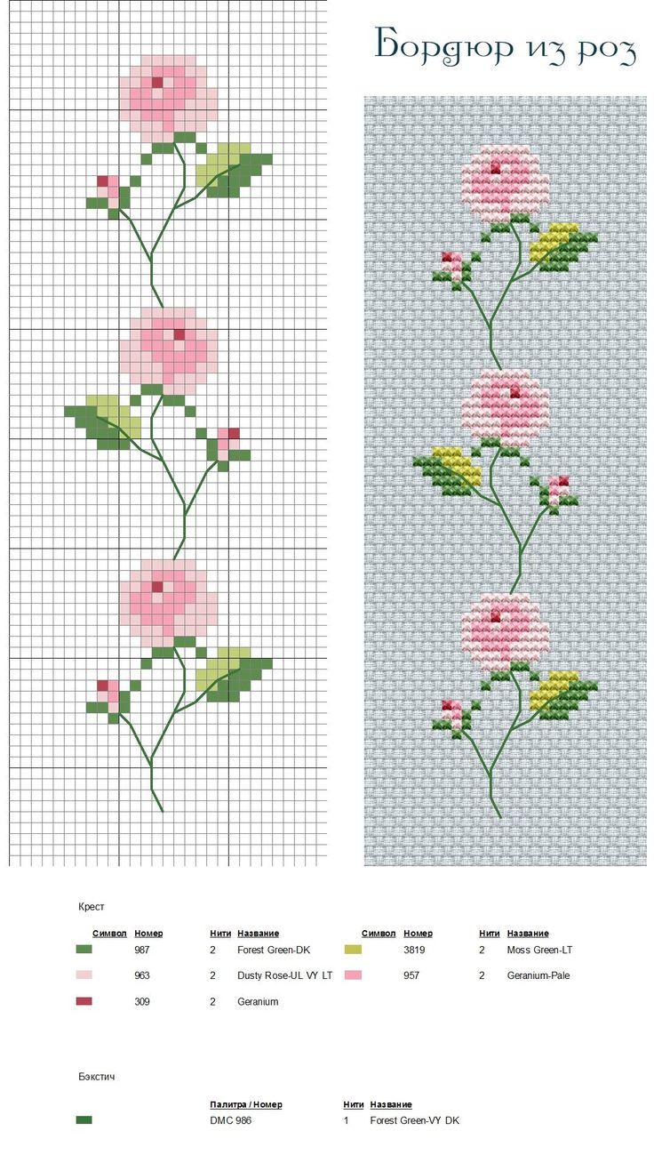 Бордюр розы вышивка крестом 98