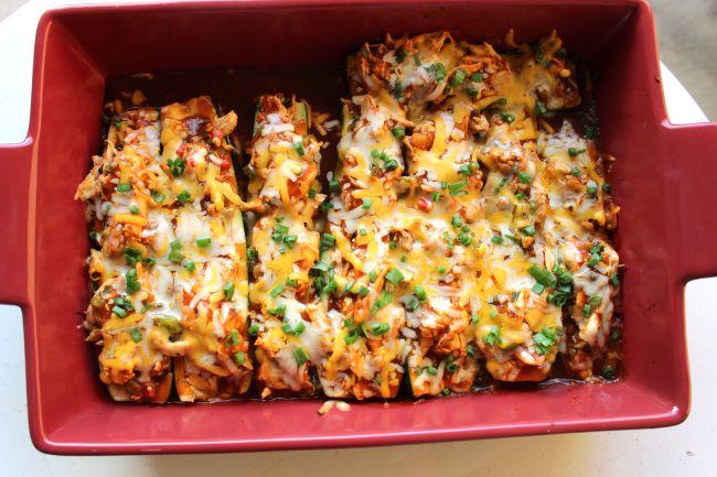 chicken enchilada stuffed zucchini boats | n o s h | Pinterest