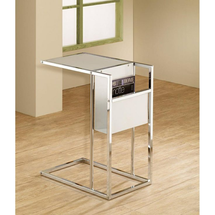 Sunroom idea white chrome finish side end magazine table for 12 inch accent table