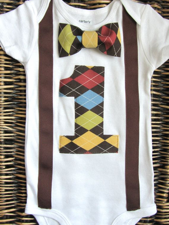Boys First Birthday Outfit - Baby Boy Clothes - Brown Suspenders and ...