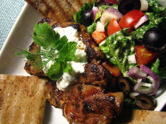 Grilled Lamb Shoulder Chop with a Yogurt Herb Sauce and Grilled Pita ...