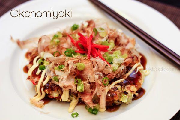 okonomiyaki: a Japanese savory pancake containing a variety of ...