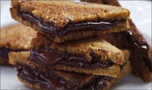 Grilled dark chocolate sandwich.
