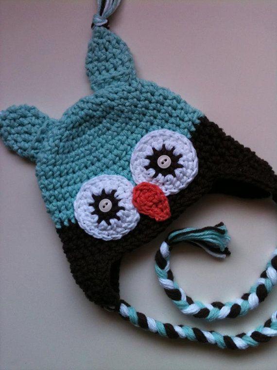 Owl Ear Flap Hat Crochet Pattern PDF (Instant Download)