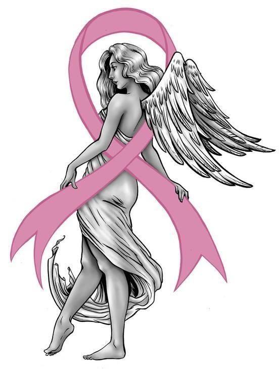 Angel Cancer Ribbon Tattoos Breast cancer ribbon with
