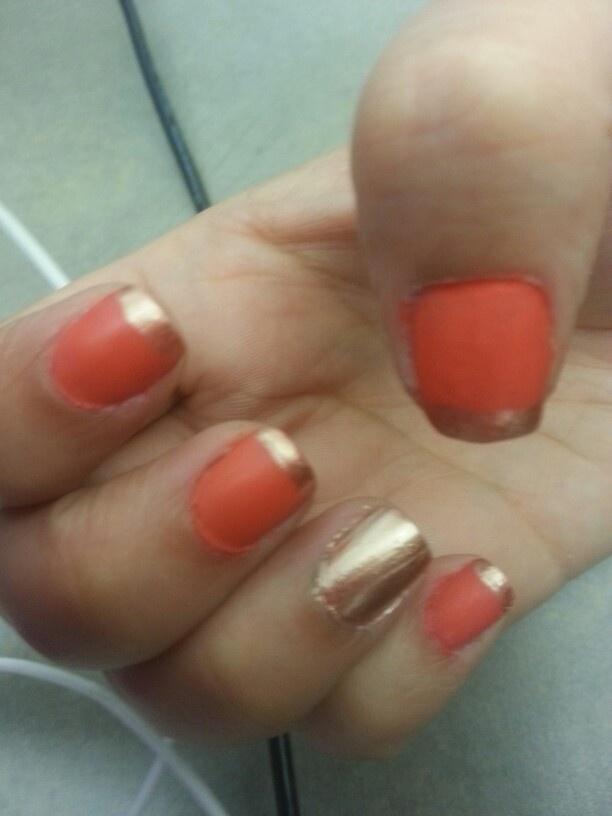 Orange gold nail art : Matte orange and gold nails nail art