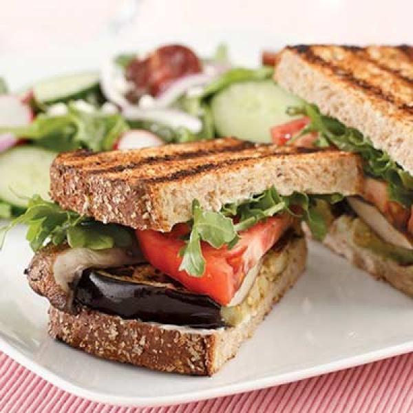 Grilled Eggplant & Portobello Sandwich | KitchenDaily.com