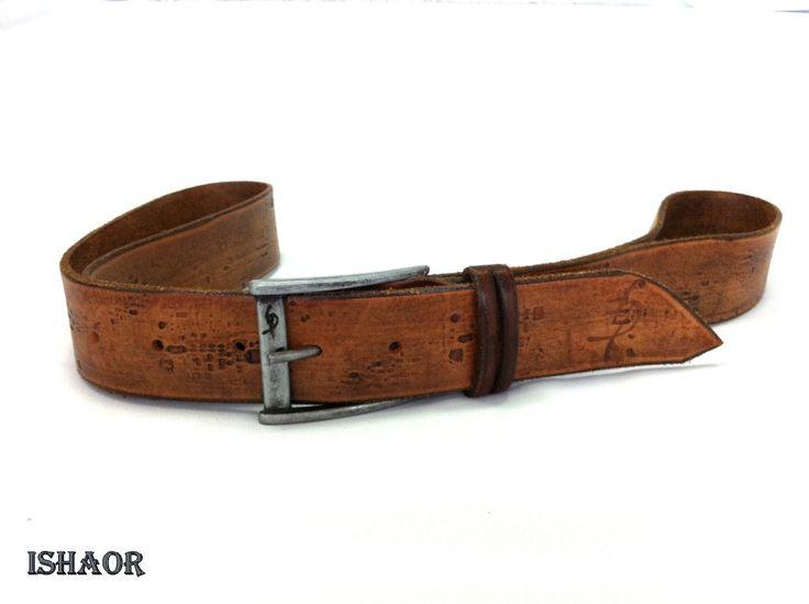 brown leather belt handmade leather belt vintage look
