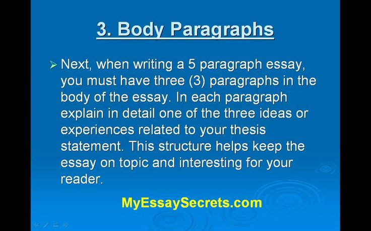 the three paragraph essay Paragraph three: conclusion the final paragraph in an essay is usually the conclusion the three-paragraph essay is no exception in this essay, the conclusion can be just as long as the other two paragraphs, and it can drive home the point made in the thesis statement and body paragraph.