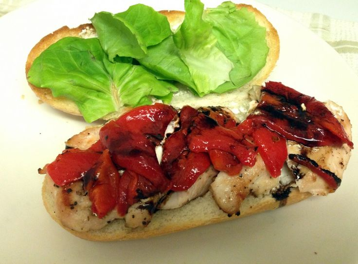 Chicken, roasted red peppers and Goat cheese sub