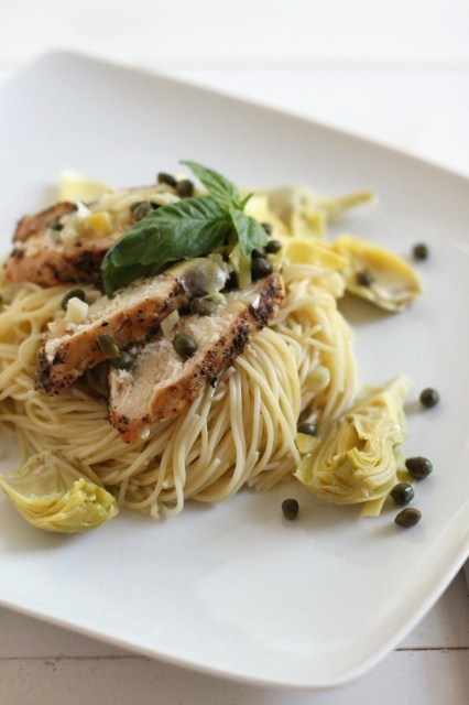 Chicken artichoke and capers in angel hair pasta. I would skip the ...